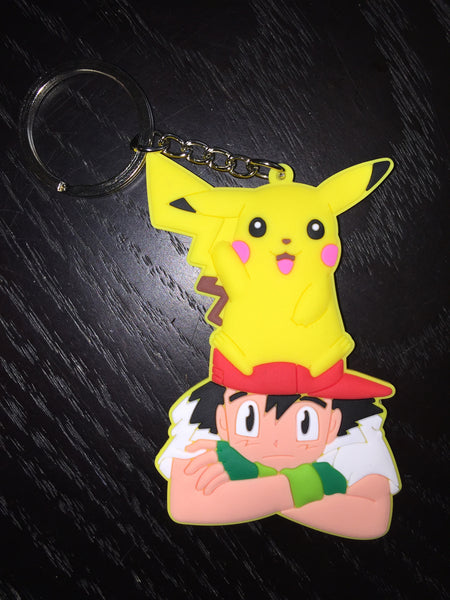 Patch & Pin 'Pokemon - Ash Pikachu on Head' Rubber Keyring
