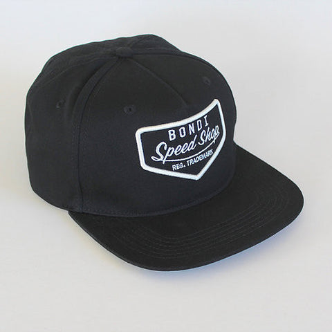 Bondi Speed Shop 'Petrol Head - Cream on Black' Cap