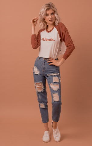 Afends 'Ripped Luckies - Vintage Blue' High Waist Slim Jeans