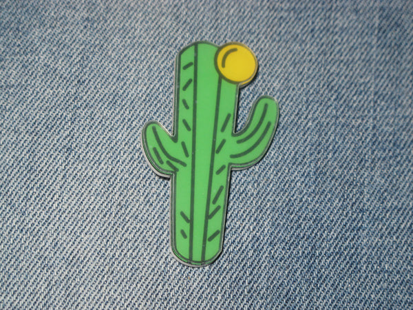 Patch & Pin 'Cactus - Yellow Flower' Acrylic Badge Pin
