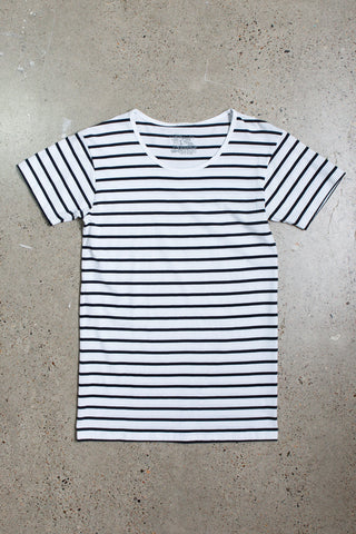 Wanderers Co 'Captain Stripe - White/Navy' Tee