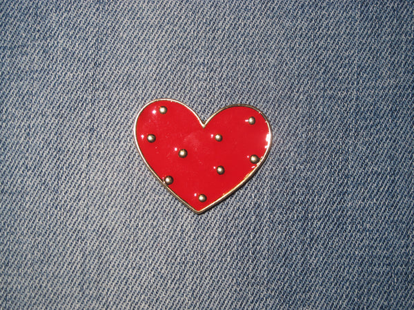 Patch & Pin 'Heart - Red/Gold Dot' Badge Pin