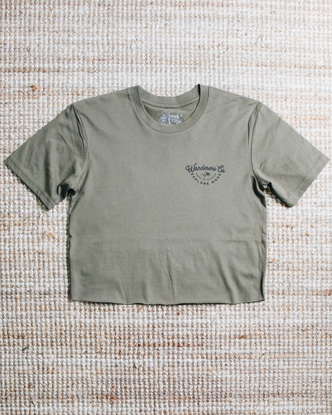 Wanderers Co 'Explore More - Army Green' Crop