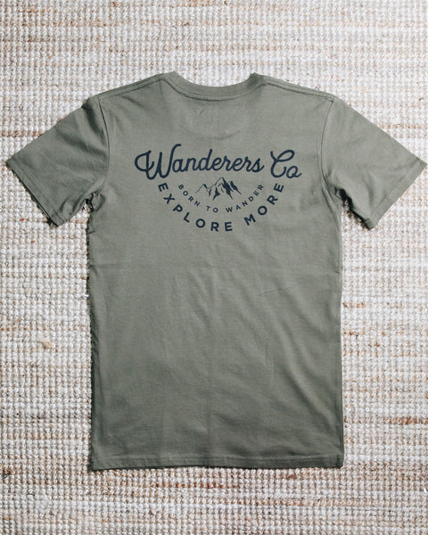 Wanderers Co 'Explore More - Army Green' Tee