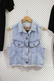 Vintage & Preloved 'EXP' Sleeveless Denim Jacket