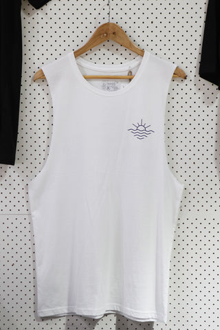 Wanderers Co 'Surf Club - White' Muscle Tee