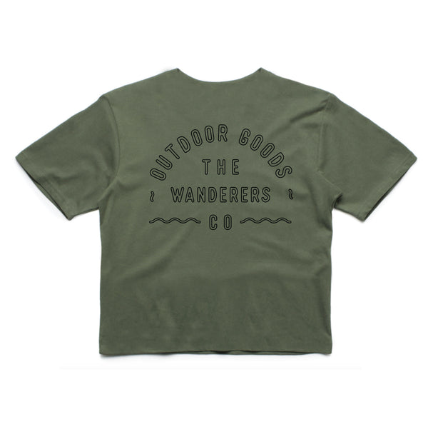 Wanderers Co 'Outdoor Goods - Army Green' Crop
