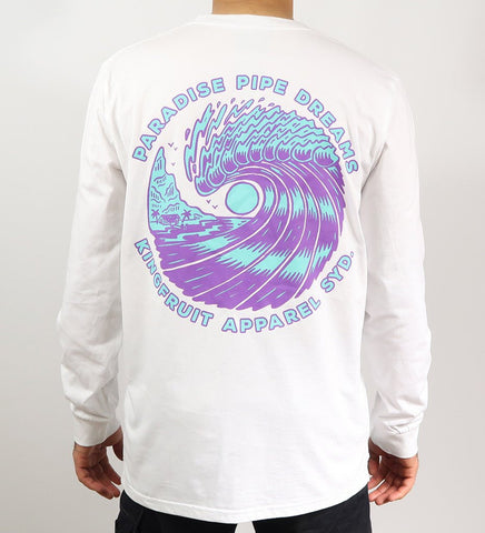 Kingfruit Apparel 'Paradise Pipe Dreams - White' Longsleeve Tee