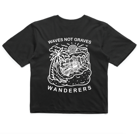 Wanderers Co 'Waves not Graves V3 - Black' Crop