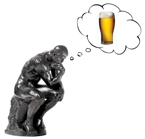 The Thinker thinking about beer
