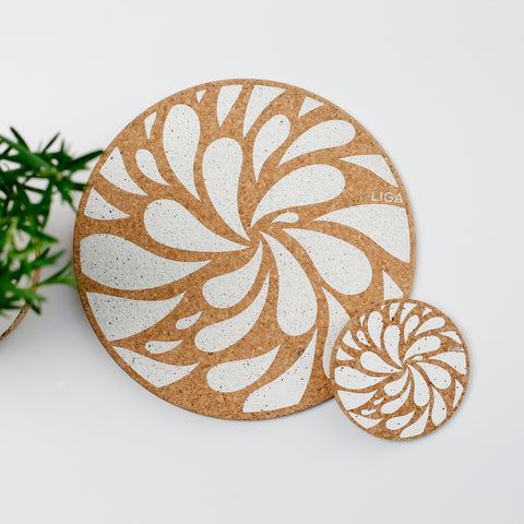 Liga Sustainable Cream Splash Design Eco Cork Placemat