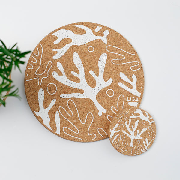 Liga Sustainable Cream Seaweed Printed Eco Cork Placemat and Coaster
