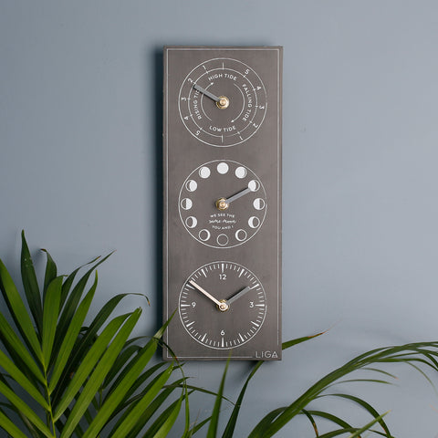 LIGA Slate Look Recycled Milk Bottle Moon Phase, Tide Times Clock