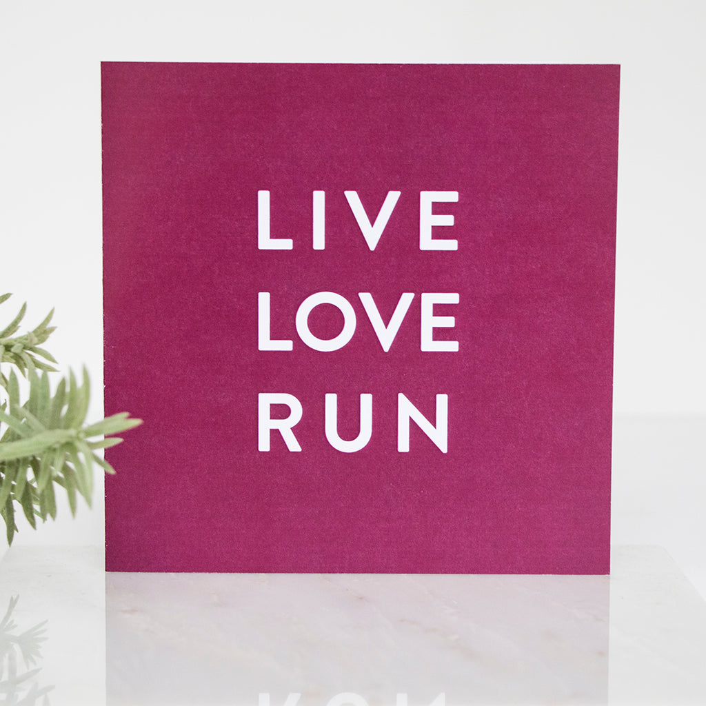 Purple Live Love Run LIGA Recycled Square Card