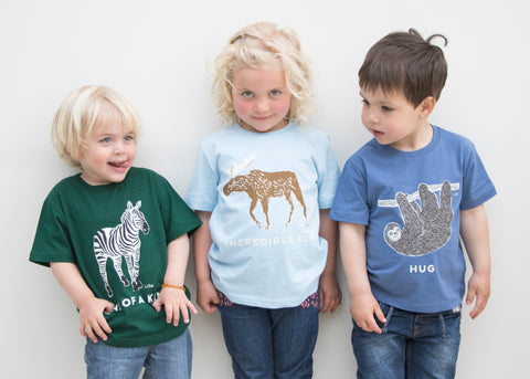 Children wearing Liga Children's Organic Cotton T Shirts