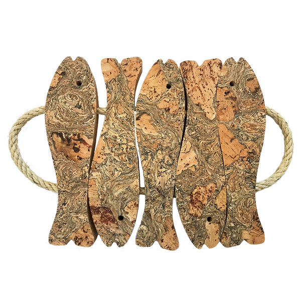 LIGA Sustainable Marbled Eco Cork 5 Fish Medium Trivet