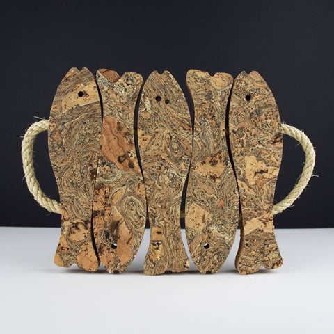 Marbled Cork Fish Trivet | Medium