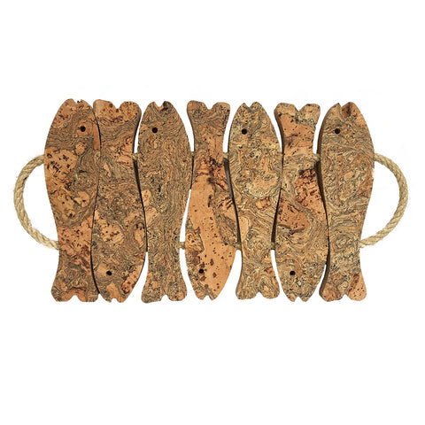 Marbled Cork Fish Trivet | Large