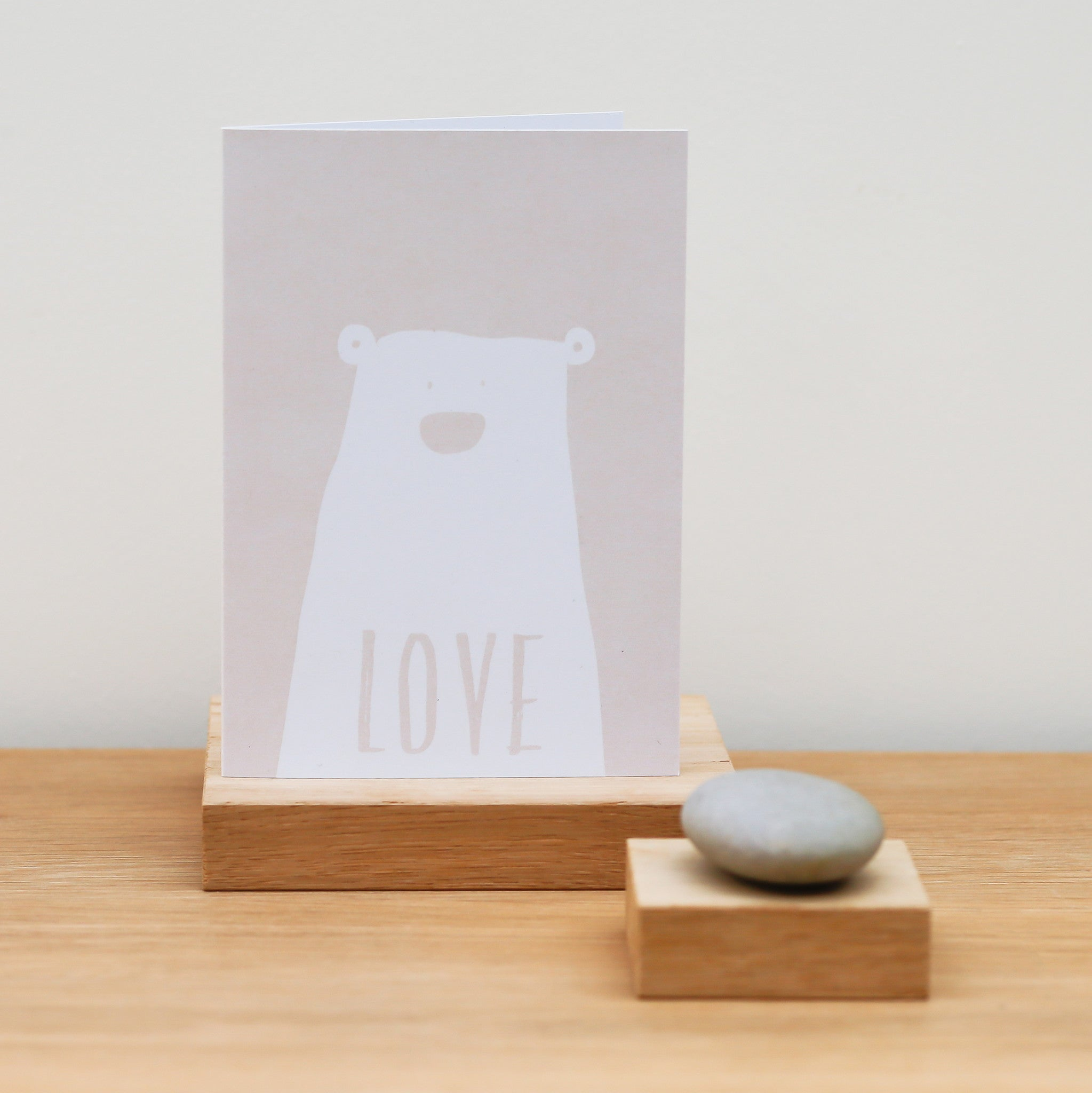 A6 Blush Pink Love Card with White Bear