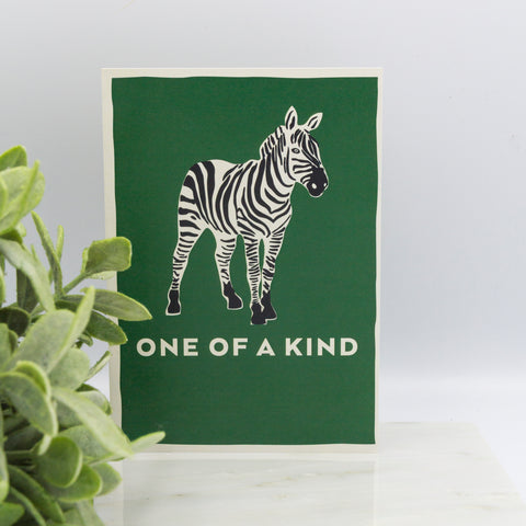 LIGA A6 Bottle Green Card with Zebra Design