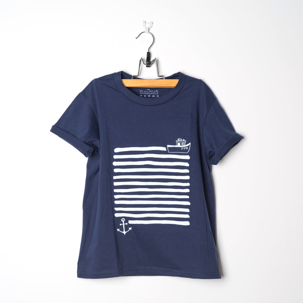 Children's Navy Organic Cotton T-Shirt Printed with White Boat & Anchor