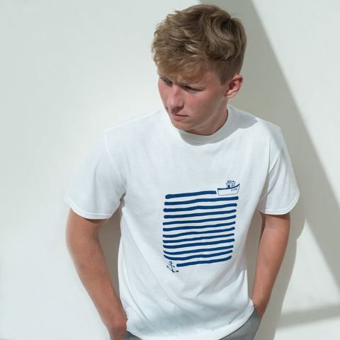 Boat & Anchor T Shirt | Mens White