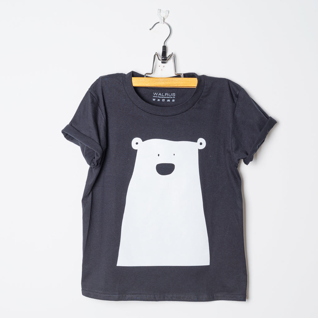Black Organic Cotton Children's T-Shirt Printed with White Bear