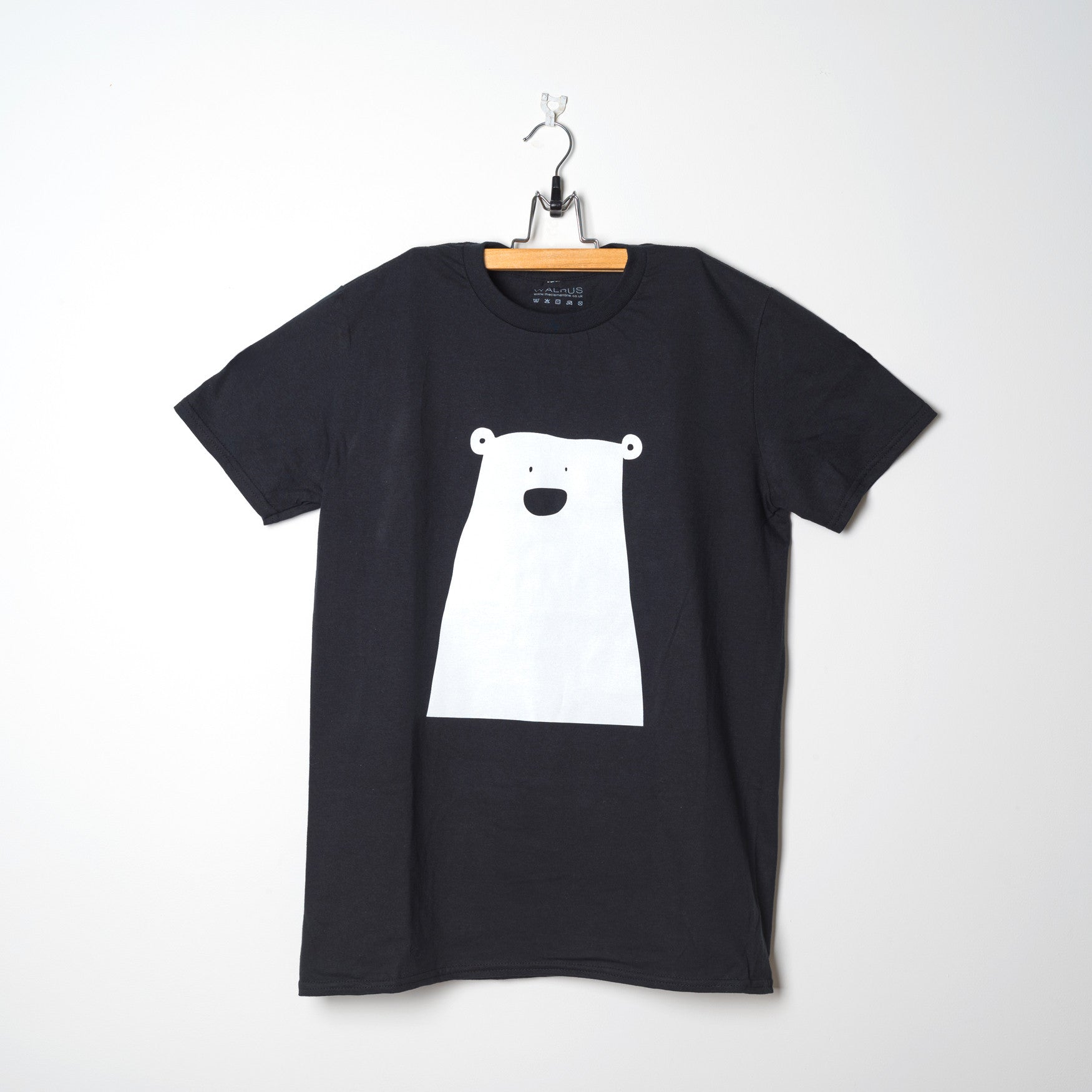 Black Adult Organic T Shirt Bear White