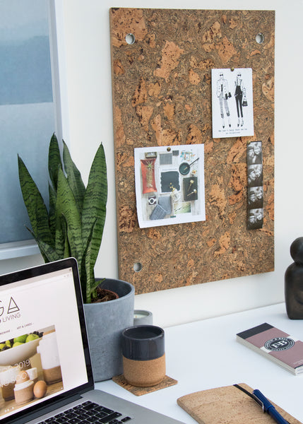 Marbled Cork Memo Board Hanging on Office Wall
