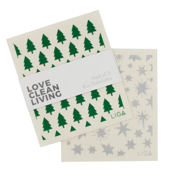 Pack of 2 LIGA Eco Friendly and Compostable Dishcloths in Green Tree and Silver Star Designs