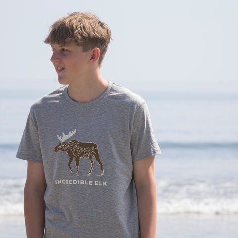 Adult Grey Organic T Shirt Printed with Elk Design