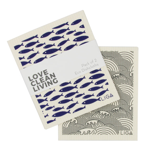 Eco Friendly and Compostable Liga Dishcloths in Navy Fish and Grey Wave Prints - Pack of 2