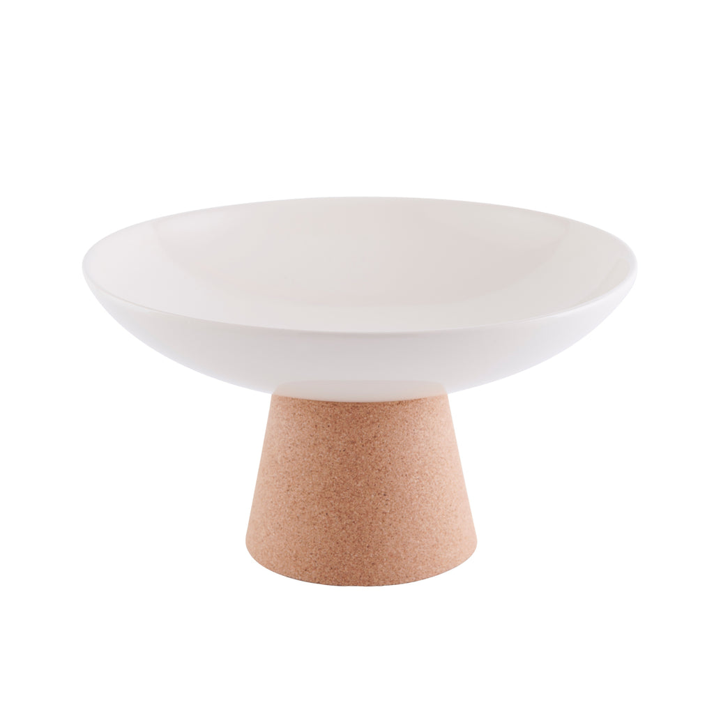 Contemporary LIGA Cream Ceramic Fruit Bowl with Sustainable Eco Cork Stand