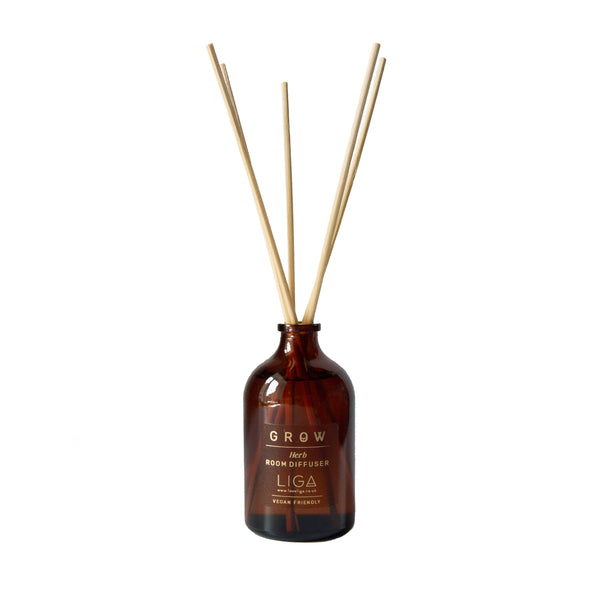 GROW Vegan Herb Diffuser and Reeds In Amber Glass Bottle