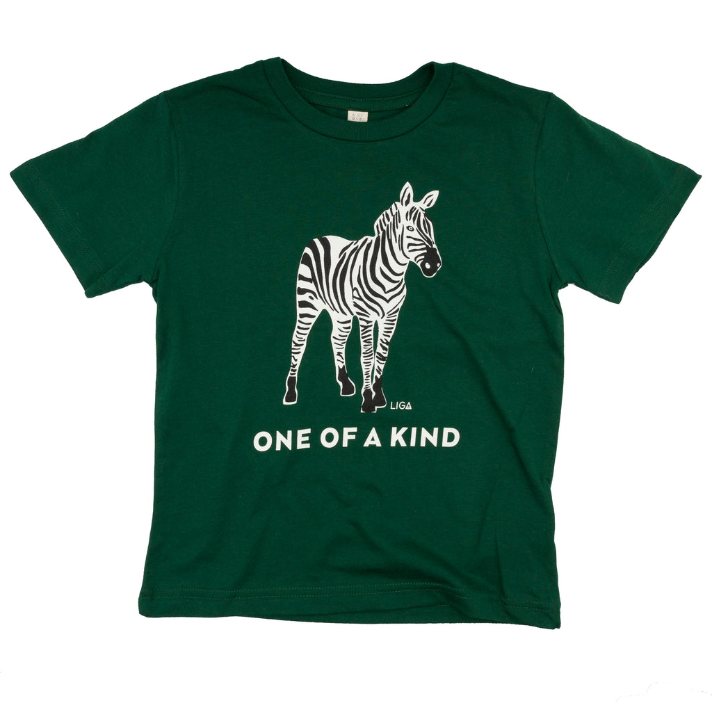 Bottle Green Organic Cotton Children's T-Shirt with Printed Zebra Design