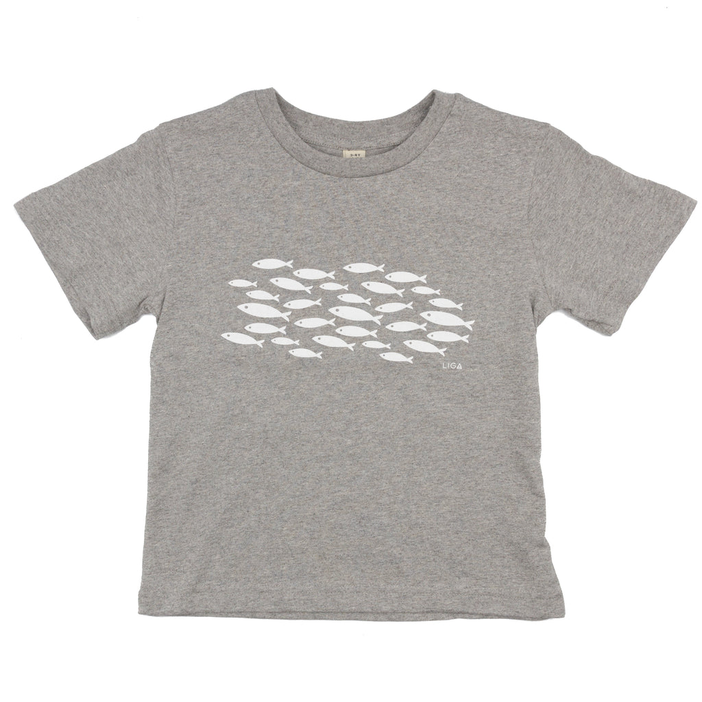 Pale Grey Organic Cotton Children's T-Shirt Printed with White Fish Design