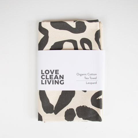 Organic Leopard Print Tea Towel | Grey