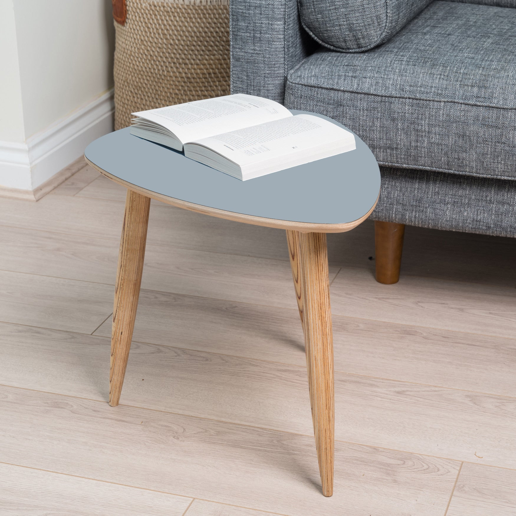 Grey Laminate and Birchwood Handcrafted Pebble Shaped Mid Century Style Side Table