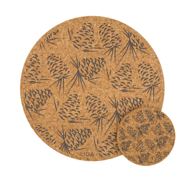 Liga Sustainable Grey Pinecone Printed Eco Cork Placemat and Coaster
