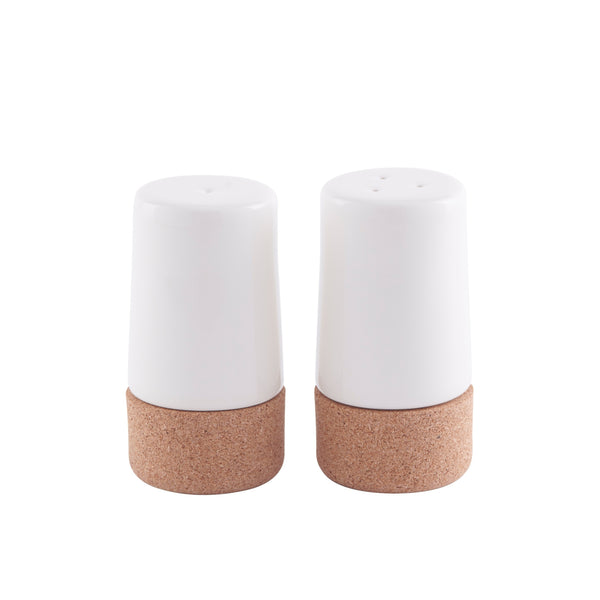 Sustainable Cork and Cream Ceramic Salt and Pepper Shaker Set | LIGA