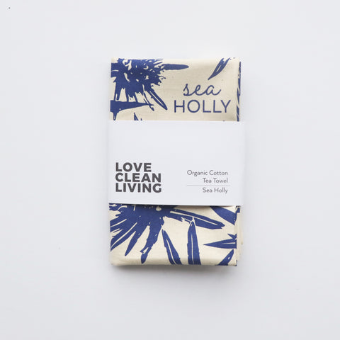 Organic Sea Holly Tea Towel | Blue