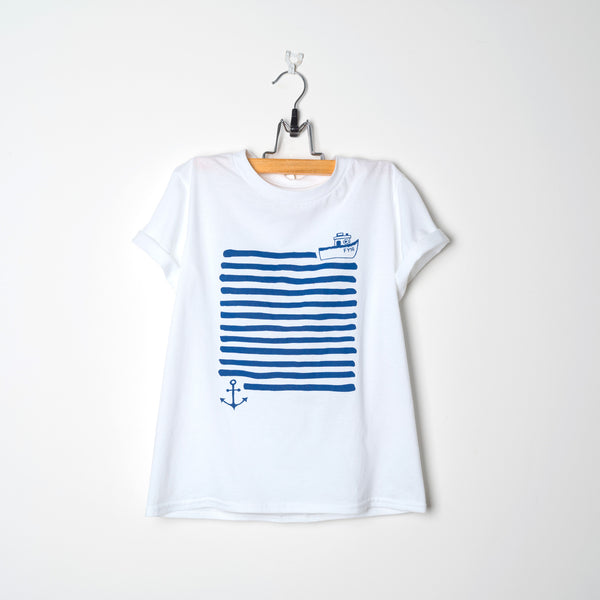 Adult White Organic T Shirt Boat