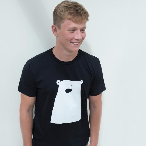 Adult Black Organic T Shirt White Printed Bear