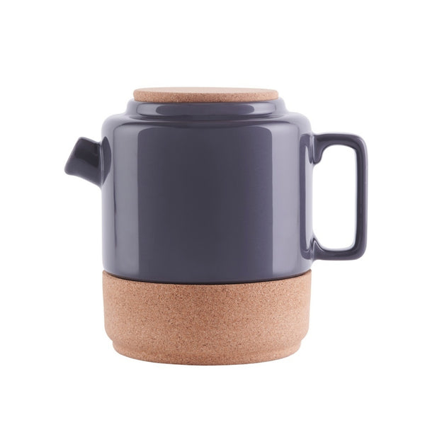 Sustainable Cork and Storm Grey Ceramic Tea Pot | LIGA