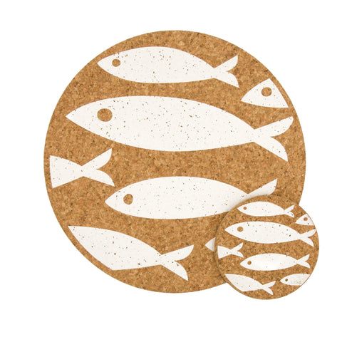 Liga Sustainable Eco Cork Placemat and Coaster Printed with Cream Fish Design