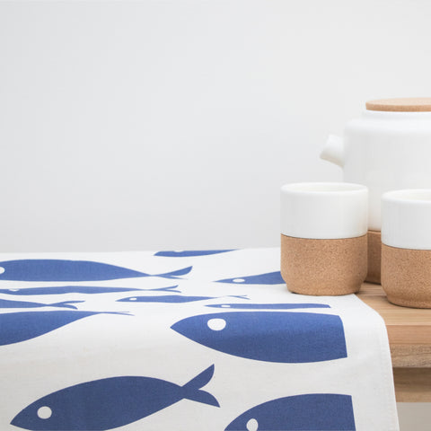 Organic Fish Tea Towel | Navy