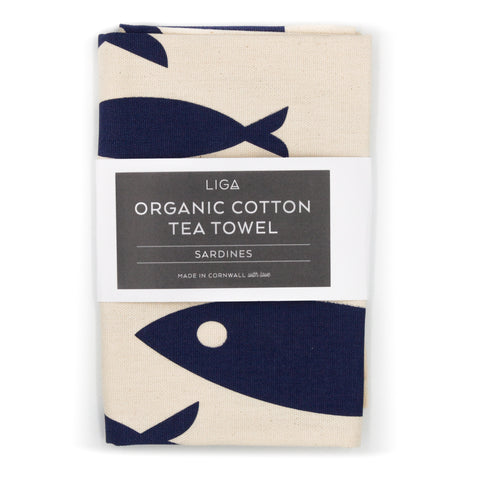 LIGA Navy Sardines Fish Organic Cotton Tea Towel