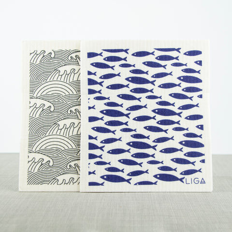 Eco Dishcloths Wave/Fish