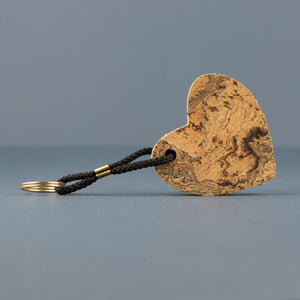Cork Heart Keyring