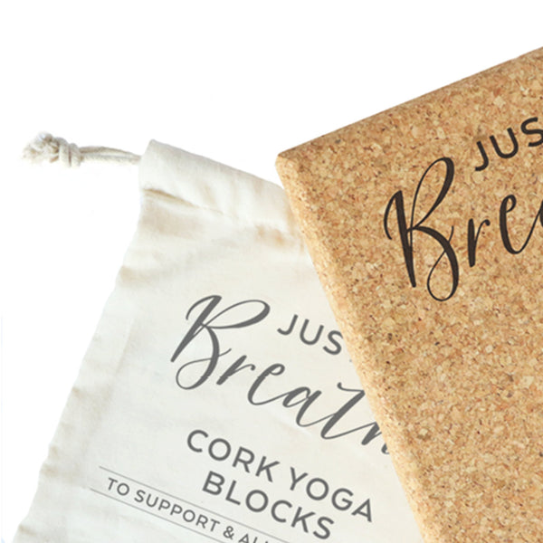 Just Breathe Cork Yoga Block and Fairtrade Cotton Drawstring Bag